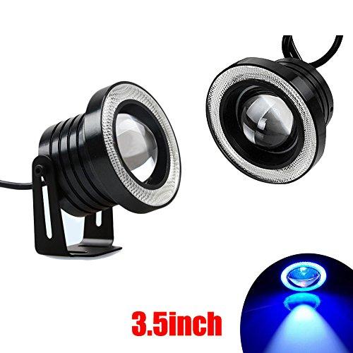 Für Halo-lichter Autos (Auto Nebel Licht, ourmall Auto Nebel Licht 8,9cm blau Halo Ring COB LED projectordrl fahren Leuchtmittel 3200(blau Licht))