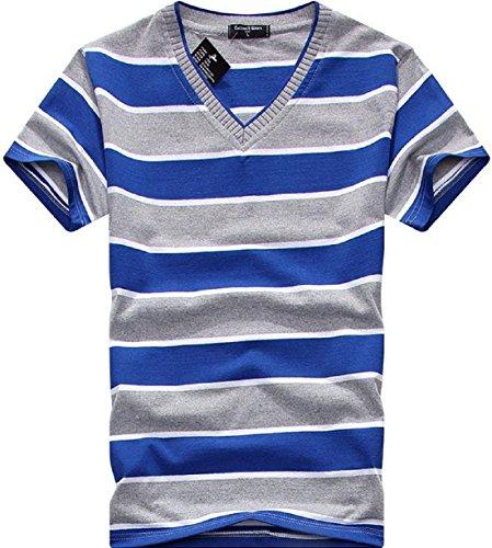 Men's Fashion Striped V-Neck Short Sleeve Tee Shirt V18
