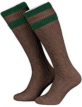 Tobeni 1 Paar Herren Trachten Strümpfe Kniestrümpfe Socken lang mit Umschlag Farbe Braun-Tanne Grösse 45-46