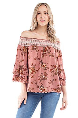 Solitaire Smocked Of Shoulder Crinkle Rayon Printed Top (medium, Rose) Crinkle Tank Dress
