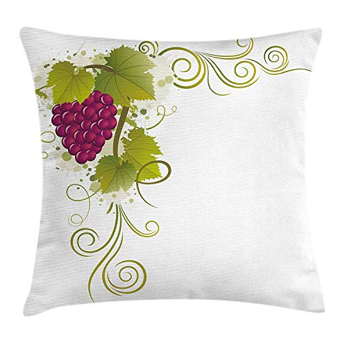 Vine Throw Pillow Cushion Cover, Swirls Stalk Leaves Grapevine Summer Season Fruit Ornamental Natural Pattern, Decorative Square Accent Pillow Case, 18 X 18 inches, Magenta Olive Green Tan Grapevine