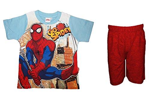 Pigiama bimbo corto manica corta cotone spiderman marvel art. mv12-221 (5/6 anni, rosso)