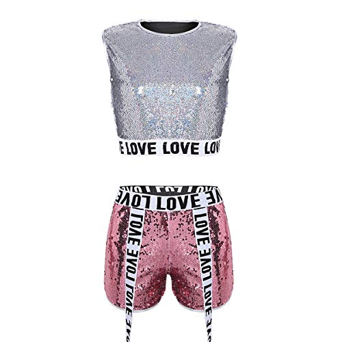 iixpin Damen Pailletten Sport Zweiteiler Fitness Outfit Metallic Kleid Glitzer Jazz Crop Top mit Shorts Sparkle & Shine Tanzkleid Party Club Bra Performance Kostüm A Silber&Rosa Small