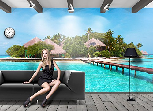 Fototapete STRAND HÄUSER PALMEN MEER OZEAN URLAUB INSEL Nr.8T-129 Wanddekoration wallpaper wall mural sea ocean beach (Strand Häuser)