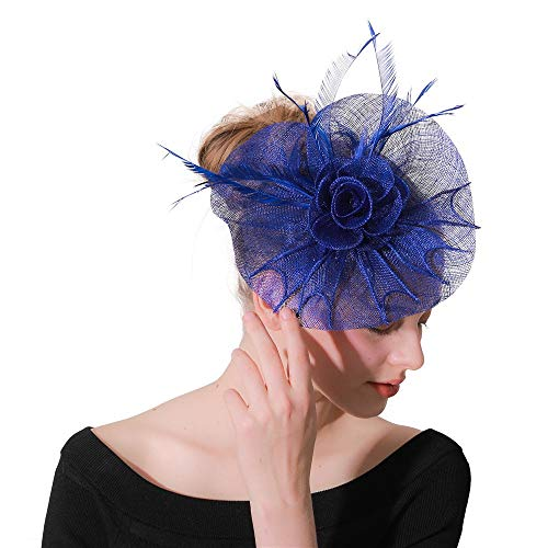 n Fascinators Hut Haarspange Feder Hochzeit Headware Braut Kopfschmuck Cocktail Hut Charming Kopf Dekoration Brautfeder Haarspange Zubehör (Color : Blue, Size : Free Size) ()