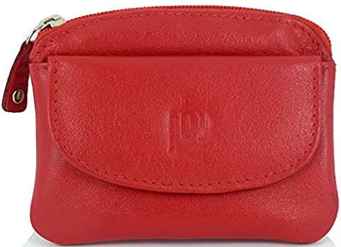 Fine Leather Small Zipped Coin Card Key Purse with Front Flap (Red)