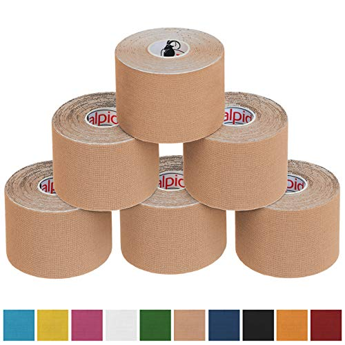 BB Sport 6 x Kinesiologie Tape 5 cm x 5 m in verschiedenen Farben, Farbe:beige