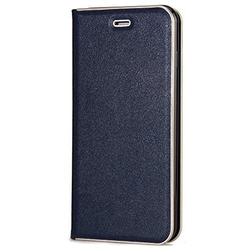 Schöner eleganter magnetischer Verschluss PU-lederner schützender Abdeckungs-Fall mit Kickstand und Einbauschlitz für iPhone 7 plus und 8 Plus ( Color : Red ) Blue
