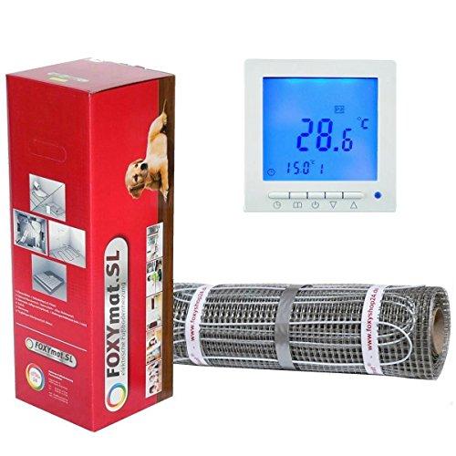 FOXYSHOP24-elektrische Fußbodenheizung PREMIUM MARKE FOXYMAT.SL (160 Watt pro m²) mit Thermostat QM-BLUE,Komplett-Set 2.0 m² (0.5m x 4m)