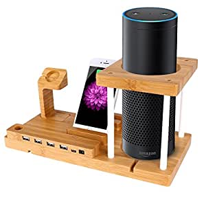 bambus lautsprecher st nder f r amazon echo elektronik. Black Bedroom Furniture Sets. Home Design Ideas