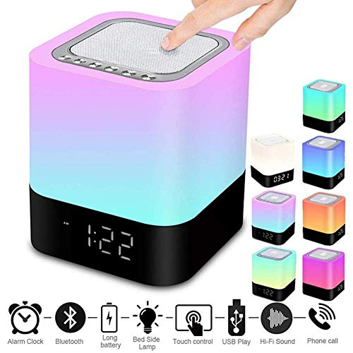 Despertador Bluetooth, Altavoz Lámpara Noche Táctil, LED Altavoces Portátiles Lámpara Mesa Reproductor...