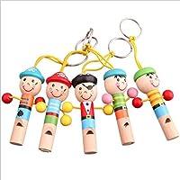 Huertuer - Llavero de madera con silbato pirata, diseño de juguete para niños (color al azar)