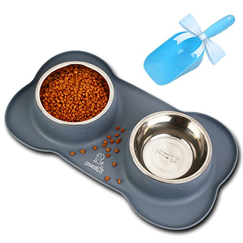 Pecute Dog Bowls Non Slip, Stainless Steel Double Bowls Set with Non-Spill Silicone Mats Tray for Cats Puppies Small Dogs Water Food Feeding (12oz, Grey)