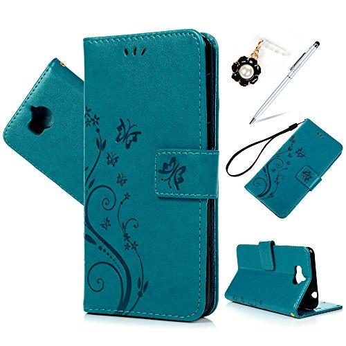 MAXFE.CO Schutzhülle Tasche Case für Huawei Y6 2017/Huawei Y5 2017 PU Leder TPU Ihnnen Schale Flip Tasche Cover Prägung Muster Schmetterling im Ständer Book Case / Kartenfach Blau
