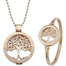 glinkin acero inoxidable collar y pulsera 18K oro rosa 33mm colgante de mi moneda moneda collar + 25mm Moneda brazalete soporte