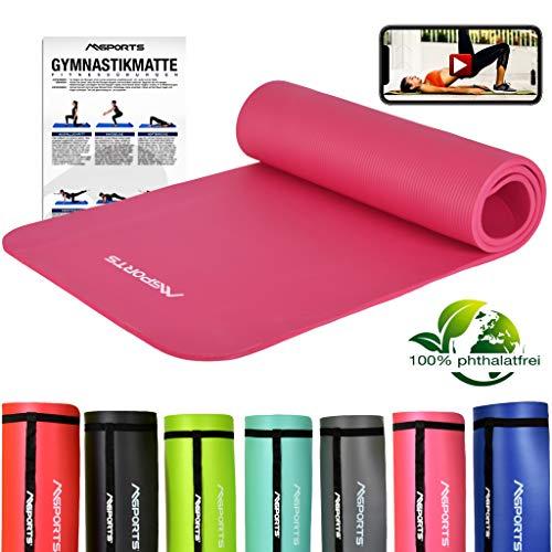 MSPORTS Gymnastikmatte Studio   inkl. Übungsposter und Tragegurte   Hautfreundliche - Phthalatfreie Fitnessmatte weich - 183 x 61 x 1 cm - Pastelpink   Yogamatte
