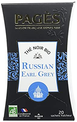 PAGÈS Thé Noir Russian Earl Grey Bio 20 Sachets 36 g - Lot de 4