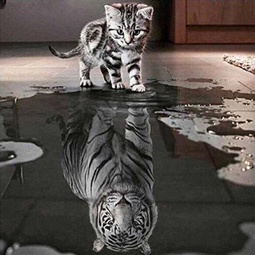 (Igemy 30 * 30cm Katze und Tiger DIY 5D Diamant Stickerei Malerei Kreuz Stich Zuhause Dekor Kunst (30 * 30cm))