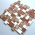 Marmor Mosaik Fliesen Römischer Verband Braun Mix von Mosafil bei TapetenShop
