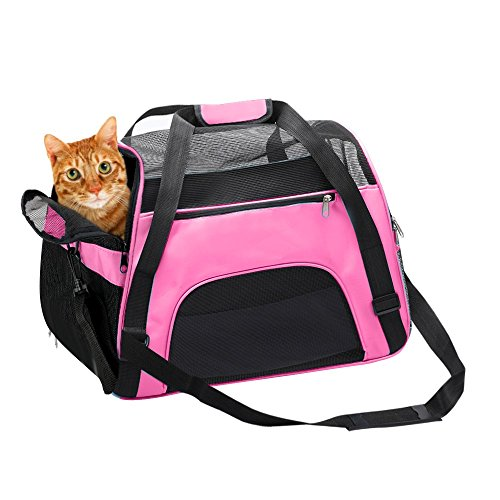 Soft Sided Pet Carrier for Dogs & Cats Comfort Airline Approved Under Seat Travel Tote Bag Backpack, Travel Bag for Small Animals with Mesh Top and Sides, Pink