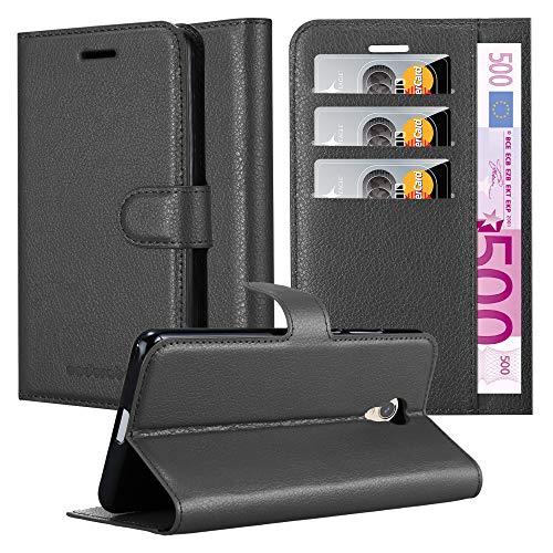 Cadorabo Hülle für ZTE Blade V7 - Hülle in Phantom SCHWARZ - Handyhülle mit Kartenfach & Standfunktion - Case Cover Schutzhülle Etui Tasche Book Klapp Style