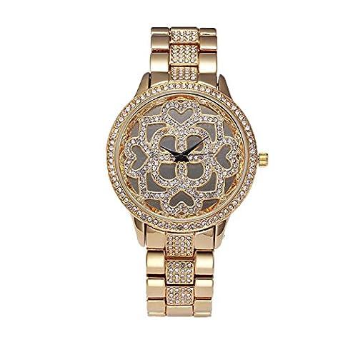 Continental Frau Shi Ying Mode Uhruhr Runde Verschraubte Krone Beobachten,Gold2-OneSize