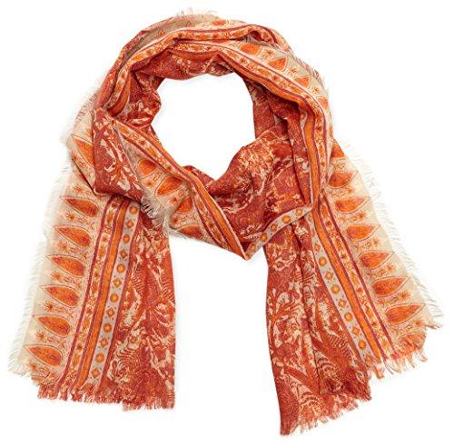 s.Oliver Damen Umschlagtuch 39.603.91.8116, Orange (Orange Placed Print 23D1), One size (Herstellergröße: 1)