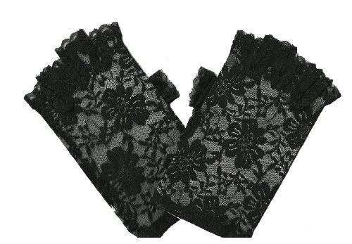Donna Breve guanti mezze dita in motivo floreale pizzo