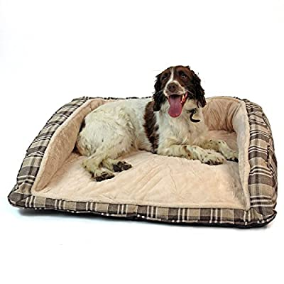 Easipet Deluxe Orthopaedic Soft Dog Sofa Bed in Tan Plaid from Easipet