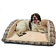 Easipet Deluxe Orthopaedic Soft Dog Sofa Bed in Tan Plaid