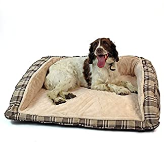 Easipet Deluxe Orthopaedic Soft Dog Sofa Bed in Tan Plaid 74001 14