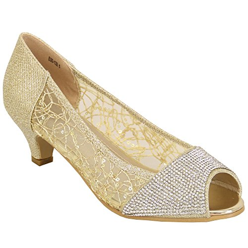 Damen Kelsi Sandalen Damen Schuhe Strass Glitzer Pailletten Netz Peeptoe Mittelhoch Gold - E00132