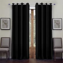 Songmics Blackout curtains 2 piezas opaca con ojales 145 x 245 cm negro LRB245H-2