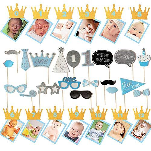 Ohighing 0-12MonateBabyFoto Banner Girlande Bilderrahmen und 1 Birthday Fotobooth Requisiten 1stBirthdayDecorations Blau