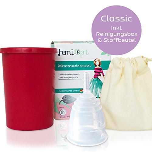 Menstruationstasse FemiOpt-medizinisches Silikon aus DE/AT-sichere nachhaltige Monatshygiene inklusive Reinigungs-Becher-Stoffbeutel-Classic-Größe S