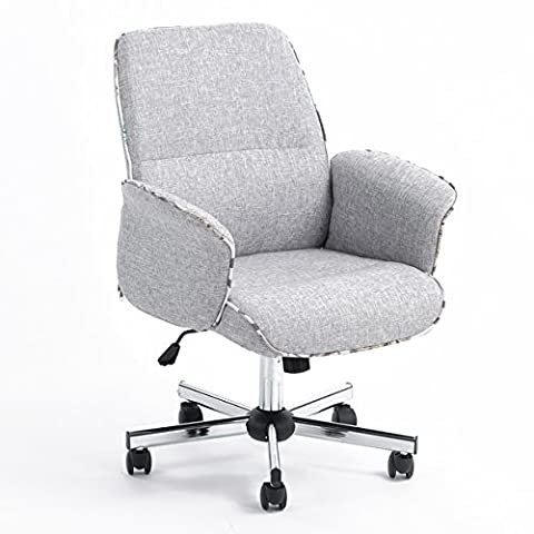 GreenForest Home Office Chair Backrest Upholstered Sofa Chair Office Seat (Grey white)