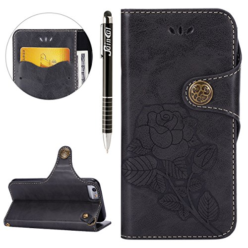 Custodia iPhone 4, iPhone 4S Flip Case Leather, SainCat Custodia in Pelle Flip Cover per iPhone 4/4S, Custodia Bling Glitter Diamante Ultra Sottile Anti-Scratch Book Style Custodia Morbida Cover Prote Nero #