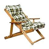 Totò Piccinni Sedia Sdraio Harmony Relax, in legno pieghevole, cuscino imbottito (Verde Scacchi)