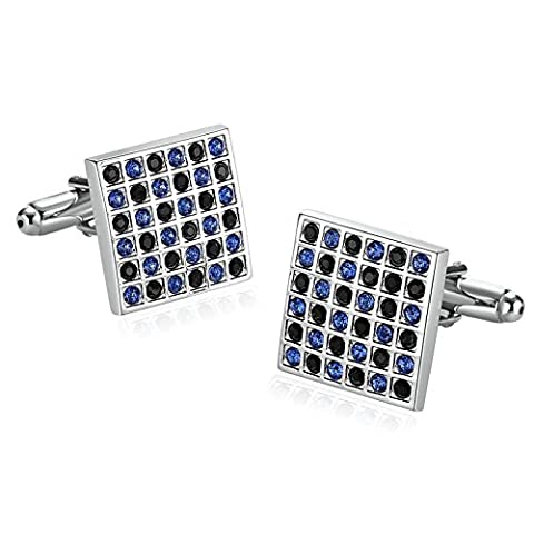 Epinki Stainless Steel Cufflinks for Mens Square Lattice Cubic Zirconia Blue- With Gift Box