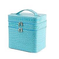 Asvert Vanity Case Small Professional Beauty Box Vanity Case Cosmetic Makeup Jewelry Storage Organiser Lockable Blue