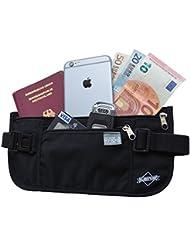 Cinturón para dinero con protección RFID – Cartera de viaje oculta para hombres y mujeres – Riñonera interior discreta de Globeproof (negro)