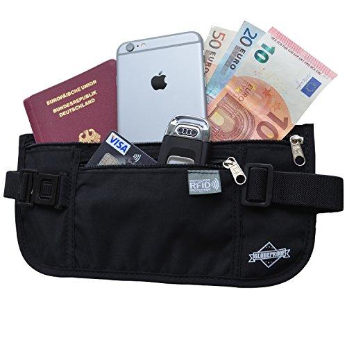 Marsupio a cintura con tecnologia di identificazione radio (RFID) - Un portafoglio segreto per le vacanze per uomo e donna - Un accessorio leggero - di Globeproof® (nero)
