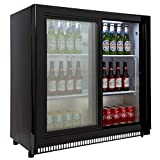 Cookology CCBF210BK Bar Beverage Cooler, Commercial Sliding 2 Door Bottle Display Fridge