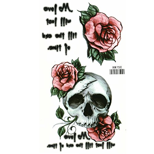 Just fox-tatuaggio temporaneo teschio rose piume design klebet attoo
