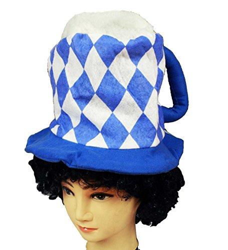 Preisvergleich Produktbild HAAC Hut Bierhut Bayern Raute Muster Farbe blau / weiss für Oktoberfest Bierfest Fasching Karneval 33 cm x 20 cm x 33 cm