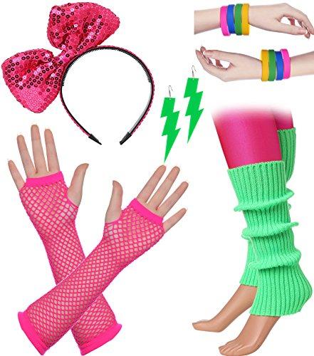 ArtiDeco Damen 80er Jahre Zubehör 1980s Disco Party Kostüm Outfit Zubehör Set inklusive Stirnband Ohrringe Armbänder Beinlinge Fischnetz Handschuhe (Set-2)