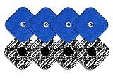 TENSPAD SILVER 8 electrodos Snap, 50 x 50 mm compatibles con COMPEX, con PATRÓN de Plata en la...