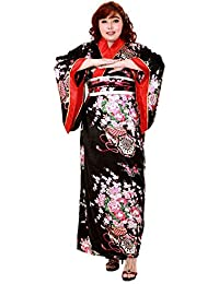 Große Größen Japan Yukata Satin Geisha Kimono + Obi Gürtel Cosplay Morgenmantel L – XL