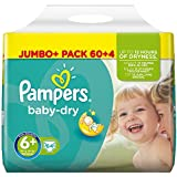 Pampers Baby Dry Pañales para Bebés, Talla 6+ (16+ kg) -  64 pañales