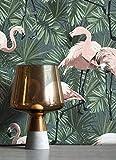 NEWROOM Tapete Dschungel Blumen Grün EcoDeco Vliestapete Palmenblätter Flamingo Pink Rosa Vintage Tapete Umweltfreundlich PVC-frei Geruchsneutral Blätter Mustertapete Wallpaper Blumentapete Floral